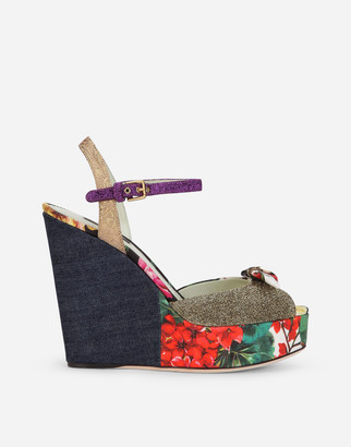 Dolce & Gabbana Wedge Sandals In Patchwork Fabrics