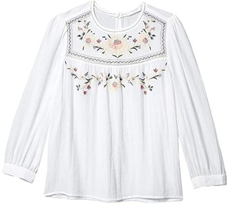 Lucky Brand Long Sleeve Crew Neck Embroidered Yoke Top (Lucky White) Women's Clothing