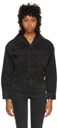 Alexander Wang Black Denim Lapel Collar Jacket