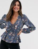 Vila floral tie front blouse