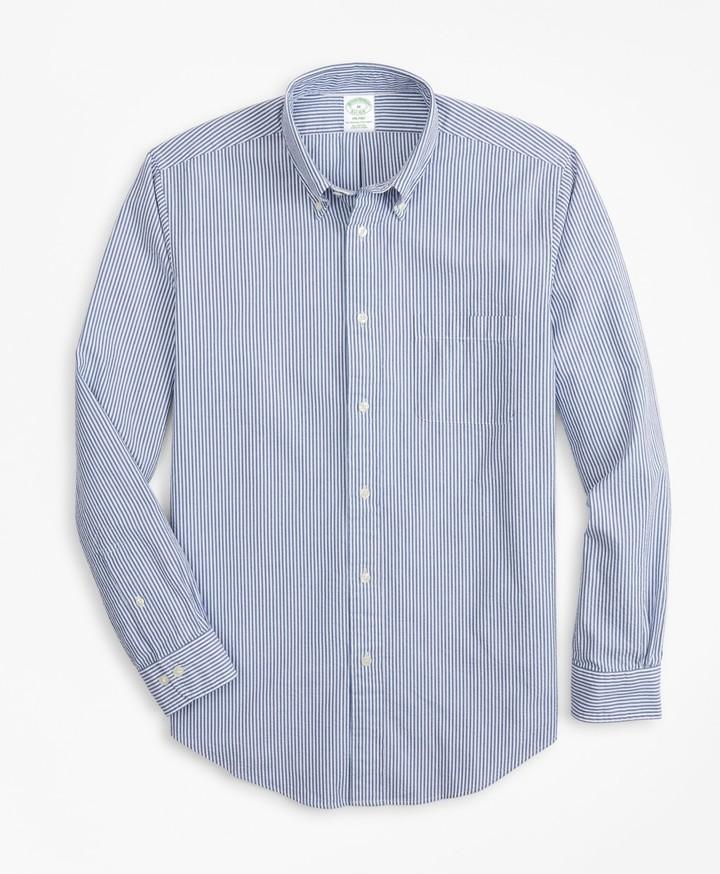 Brooks Brothers Milano Fit Stripe Seersucker Sport Shirt