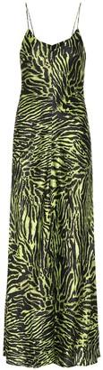 Ganni Tiger-printed stretch-silk dress