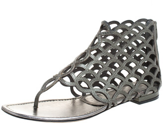 Sergio Rossi Metallic Grey Leather Cut Out Scalloped Flat Sandals Size 37.5