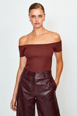Karen Millen Knitted Rib Bardot Top