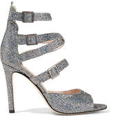 Sarah Jessica Parker Fugue Glittered Leather Sandals - Silver