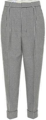 Ami Gingham wool-blend straight pants