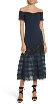 Jonathan Simkhai Women's Lace Applique Crepe Off The Shoulder Trumpet Dress
