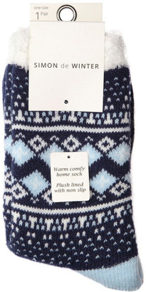 Simon De Winter Plush Lined Border Fairisle 3qtr Crew Sock 20-131