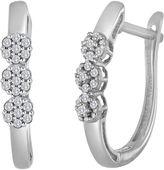 JCPenney FINE JEWELRY diamond blossom 1/4 CT. T.W. Diamond 10K White Gold Cluster Hoop Earrings