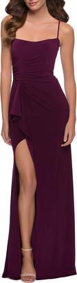 La Femme Matte Jersey Square-Neck Strappy Gown