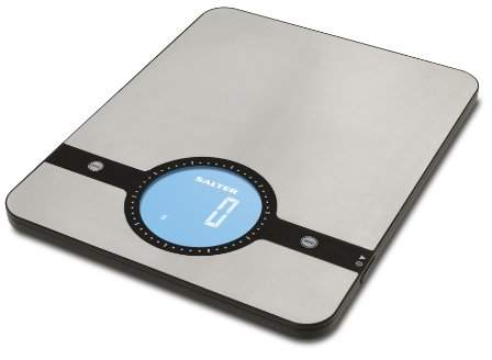 Salter Geo Digital Kitchen Scales - Electronic Food Weighing Stainless Steel Cooking Scale Home Appliance, LCD Display, Touch Sensitive Add & Weigh, Compact Storage, Easy to Clean - 15 Year Guarantee