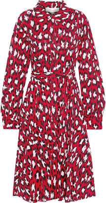 Diane von Furstenberg Dory Belted Printed Stretch-mesh Shirt Dress