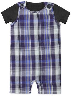 A.T.U.N. Boys' Short Overalls grape - Grape Plaid Shortalls & Black Tee - Newborn & Infant
