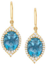 Jamie Wolf 18k Small Oval Aladdin Pavé Earrings w/ Blue Topaz & Diamonds