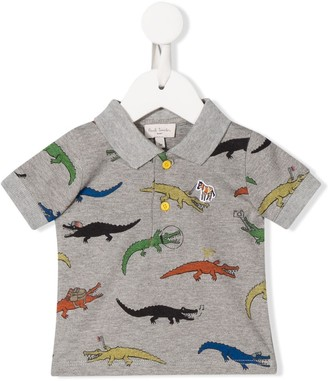 Paul Smith Dinosaur-Print Embroidered Polo Shirt