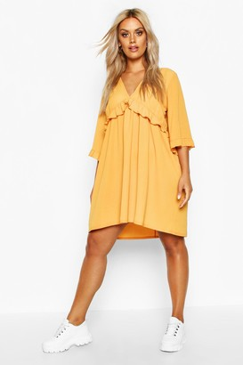boohoo Plus Ruffle Plunge Woven Shift Dress