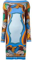 Emilio Pucci feather motif fitted dress