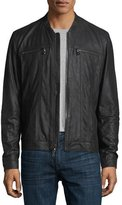 John Varvatos Leather Jacket with Band Col