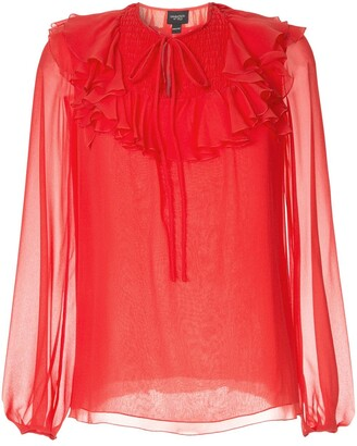Giambattista Valli Sheer Ruffle Blouse