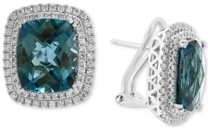Effy London Blue Topaz (15-5/8 ct. t.w.) & Diamond (7/8 ct. t.w.) Statement Earrings in 14k White Gold