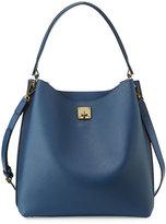 MCM Milla Large Leather Hobo Bag, Navy Blue