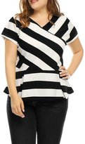uxcell Agnes Orinda Women's Plus Size V Neck Inverted Pleats Striped Peplum Top