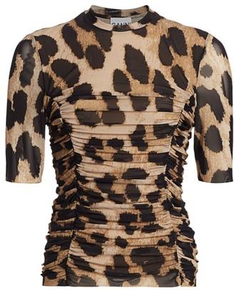 Ganni Leopard Mesh Top