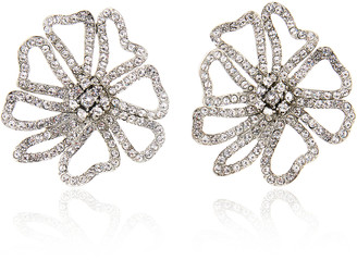 Oscar de la Renta Pave-Crystal Flower Earrings