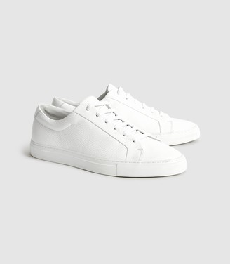 Reiss Luca - Tumbled Leather Sneakers in White