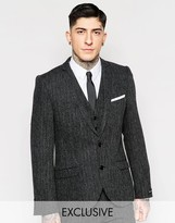 Heart & Dagger Herringbone Suit Jacket In Super Skinny Fit