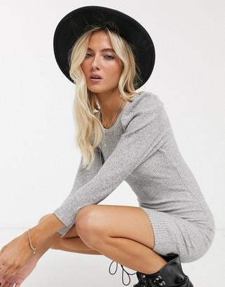 Bershka puff sleeve mini dress in grey