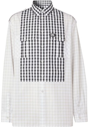 Burberry Gingham Detail Long-Sleeved Shirt