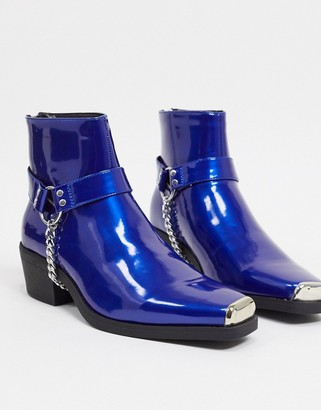 ASOS DESIGN cuban heel western chelsea boots in blue faux leather with hardware detail