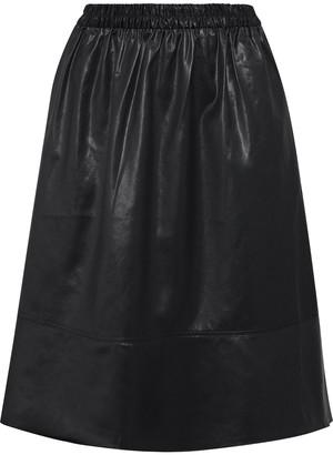 Tibi Gathered Coated-shell Skirt