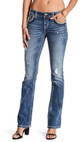 Miss Me Embroidered & Distressed Mid Rise Bootcut Jeans