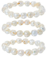 Honora White Ming Cultured Pearl Set of 3 Stretch Bracelets