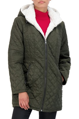 Sebby Collection Faux Fur Lined Quilted Jacket
