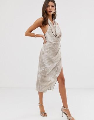 Asos Design DESIGN satin drape midi dress in neutral croc print-Multi