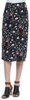 A.L.C. Daniels Floral-Print Silk Skirt, Black