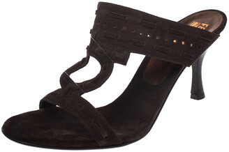 Salvatore Ferragamo Brown Suede Gancini Cut Out Smeraldo Slide Sandals Size 41
