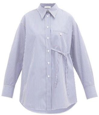 Chloé Side-tie Striped Cotton-poplin Shirt - Womens - Blue White