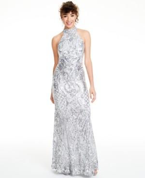 B. Darlin Juniors' Sequined Halter Gown