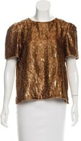 Wes Gordon Metallic Textured Top