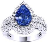 Jewel Zone US Simulated Blue Tanzanite & Cubic Zirconia Solitaire Ring In 14k Gold Over Sterling Silver