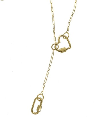 Marla Aaron Baby Lock and Baby Heart Lock with Yellow Gold 3 Loop Square Link Chain Necklace