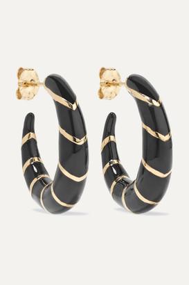 Alison Lou Petite Stripes 14-karat Gold And Enamel Hoop Earrings - one size
