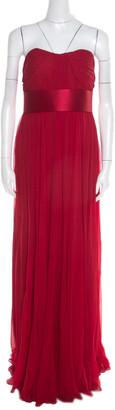 Marchesa Scarlet Silk Chiffon Pleated Bodice Strapless Gown M