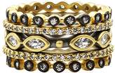 Freida Rothman Women's 14ct Gold Plated Sterling Silver Triple Marquise Bead Set of 5 Rings - Size Q