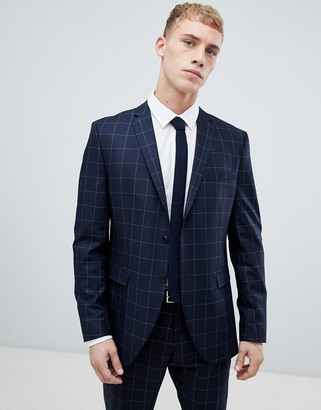 Selected Navy Suit Jacket With Grid Check In Slim Fit-Grey