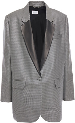 Magda Butrym Ottawa Leather-trimmed Metallic Houndstooth Wool-blend Blazer